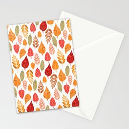 Painted Autumn Leaves Pattern Stationery Cards