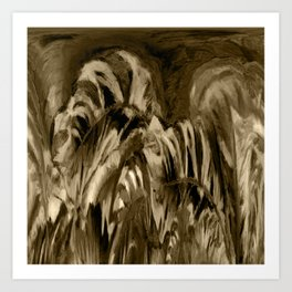 Unique Brown Abstract Art Print