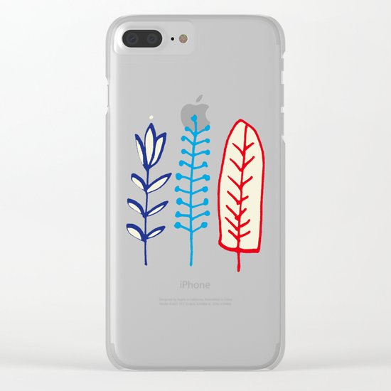 Fall and winter leaves gray Clear iPhone Case