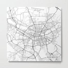 Nuremberg Map, Germany - Black and White Metal Print