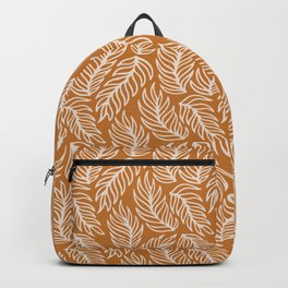 Mustard Palm Leaves Pattern Backpack