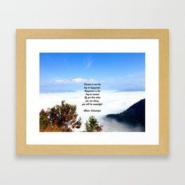 Happiness Is The Key To Success Uplifting Inspirational Quote With Blue Sky Filled With Clouds Framed Art Print