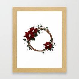 Snowy Poinsettia Wreath  Framed Art Print