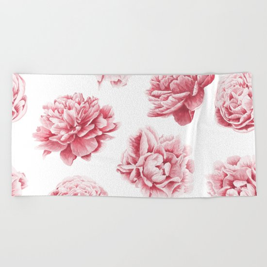 Pink Rose Garden on White Beach Towel