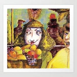 Fruit Hats and Feathers Art Print