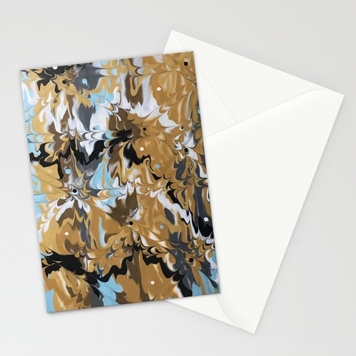 Abstract Music Gold Calypso pattern Stationery Cards