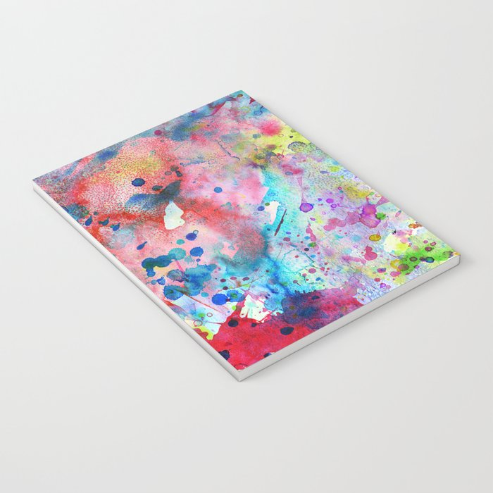 Abstract Bright Watercolor Paint Splatters Pattern Notebook