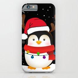 Christmas penguin reindeer fir tree iPhone Case