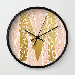 Botanical Metallic Monogram - Letter M Wall Clock