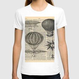 newspaper print victorian steampunk airship plane hot air balloon T-shirt