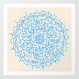 Pale Blue Pencil Pattern - hand drawn lace mandala Art Print