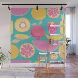 Fruity Pattern on Aqua Wall Mural