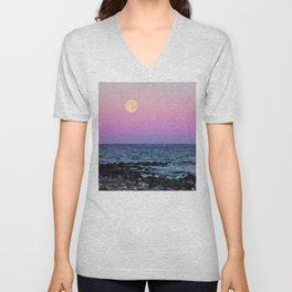 #full #moon #Blue #hour #over the #sea Unisex V-Neck