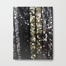 Sequins in Black, Gold and Silver Metal Print