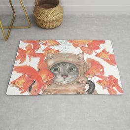 Scuba Cat Among the Fishes Rug