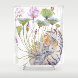 Nautilus and Lotus Surreal Watercolor Creature Shower Curtain