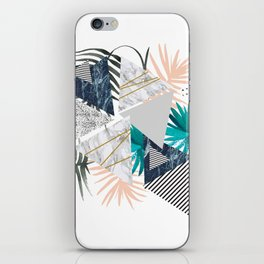Abstract of geometric patterns with plants and marble II iPhone Skin