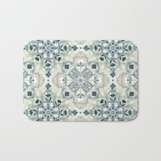 Forest Green & Neutral Taupe Detailed Lace Doodle Pattern Bath Mat
