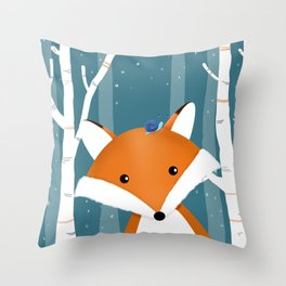 Fox and snail Throw Pillow
