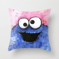 Cookie Monster Funny Cartoon Character Watercolor Blue Pink Throw Pillow