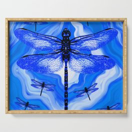DRAGONFLY BLUE AGATE Serving Tray