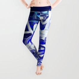 Blue & White Abstract Leggings