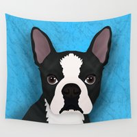 boston Wall Tapestries featuring Boston terrier by Nir P