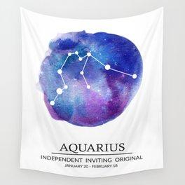 Aquarius Watercolor Zodiac Constellation Wall Tapestry