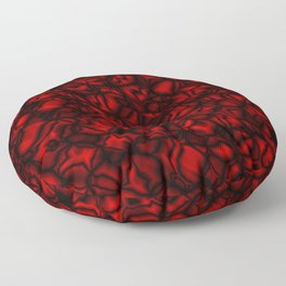 Chaotic red soap bubbles with a pattern of mirrored dark borders.  Floor Pillow