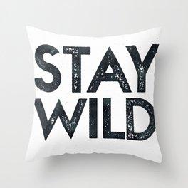 stay wild vintage black and white throw pillow