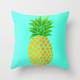 Pineapple on Teal Throw Pillow