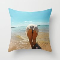 booty Throw Pillows featuring Beach Booty by Anthony Leo Photography