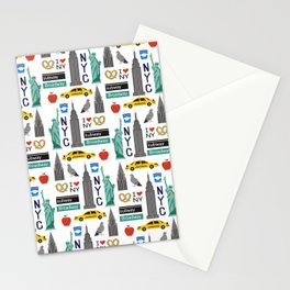 NYC travel pattern fun kids decor boys and girls nursery new york city theme Stationery Cards