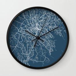 Kampala Blueprint Street Map, Kampala Colour Map Prints Wall Clock