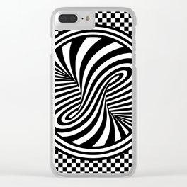 Black & White Twist & Check Design Clear iPhone Case