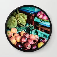 thailand Wall Clocks featuring thailand by nosoulrobot
