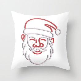 Santa Claus Neon Sign Throw Pillow