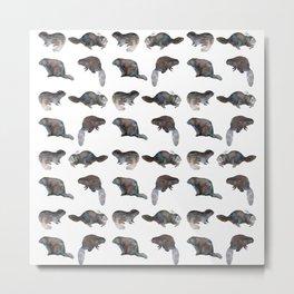Beaver Pattern Watercolor Metal Print