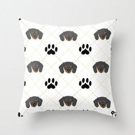 Dachshund Paw Print Pattern Throw Pillow