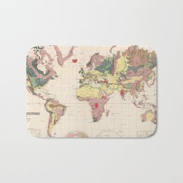 Vintage Geological Map of The World (1856) Bath Mat
