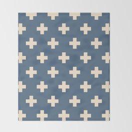 Swiss Cross Blue Throw Blanket