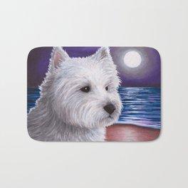 White Westie Dog Bath Mat