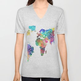 Typography Text Map of the World Unisex V-Neck