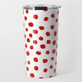 Christmas dots painted minimalist dotted pattern holiday red and white Travel Mug