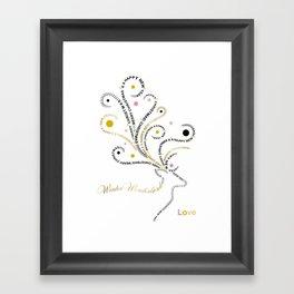 Typographic Reindeer Love - White Framed Art Print