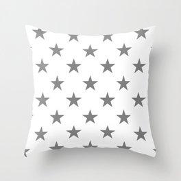 Stars (Gray/White) Throw Pillow