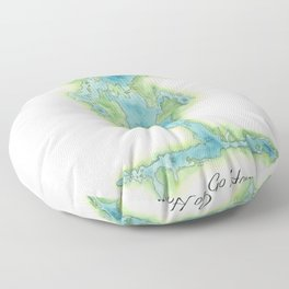 Go Home Lake - Nature Map Floor Pillow