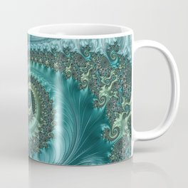 Feathery Flow Aqua - Fractal Art  Coffee Mug