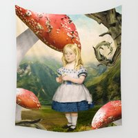 alice in wonderland Wall Tapestries featuring Alice by Diogo Verissimo