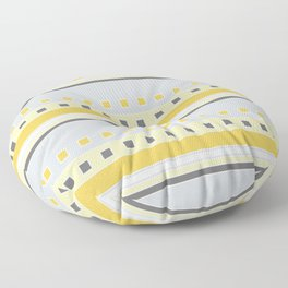 Squares and Stripes in Yellow and Gray Floor Pillow